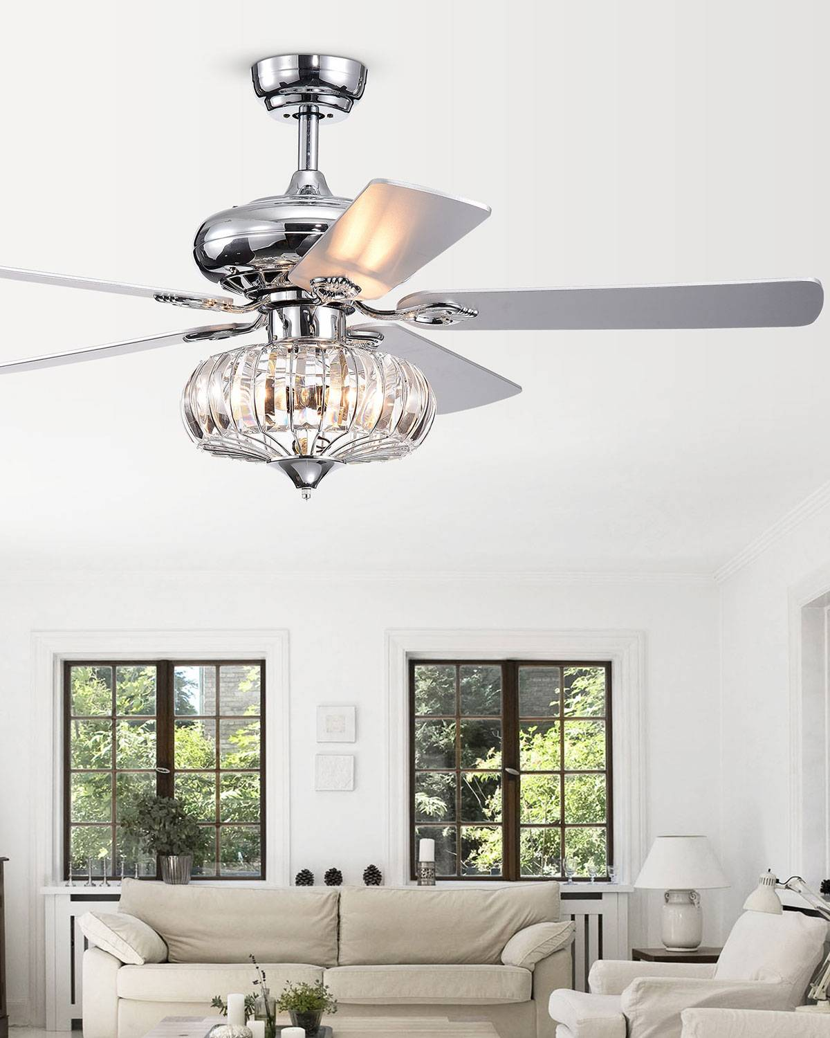 Home Accessories Crystal Baguette Dome Chandelier Ceiling Fan
