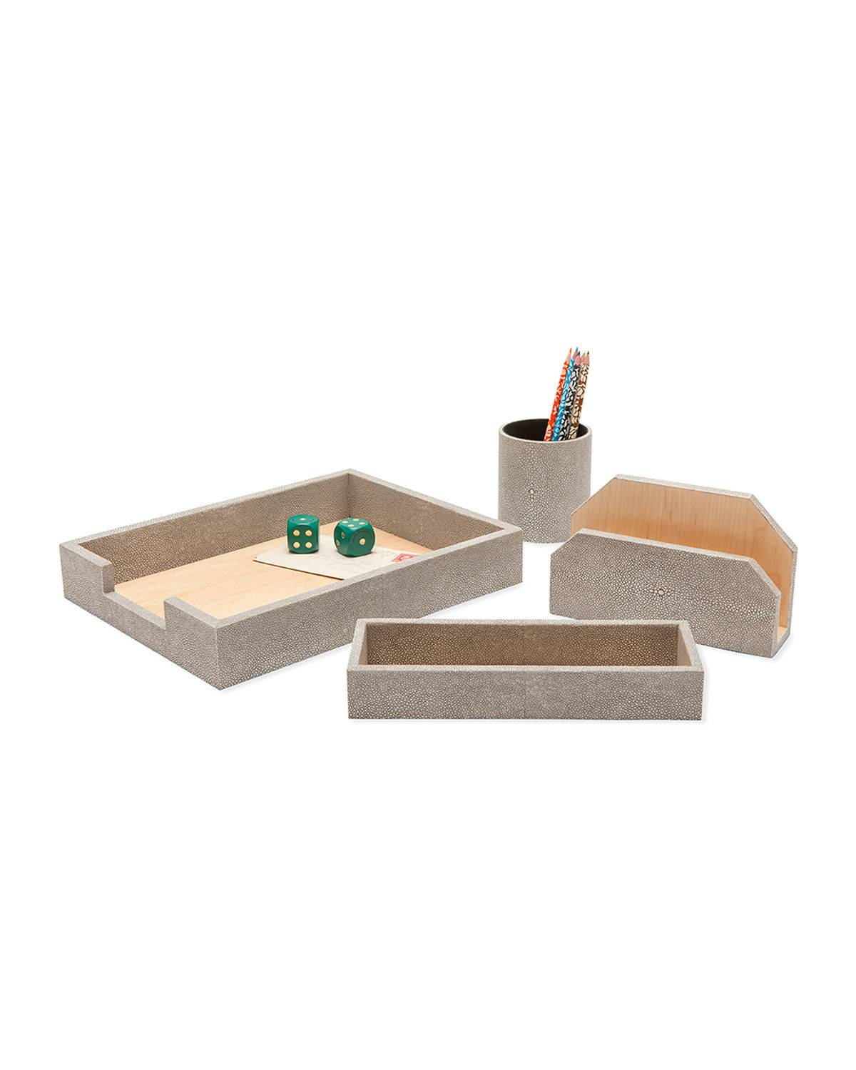 Pigeon and Poodle Crosby Faux-Shagreen Desk Organizer Accessory Set