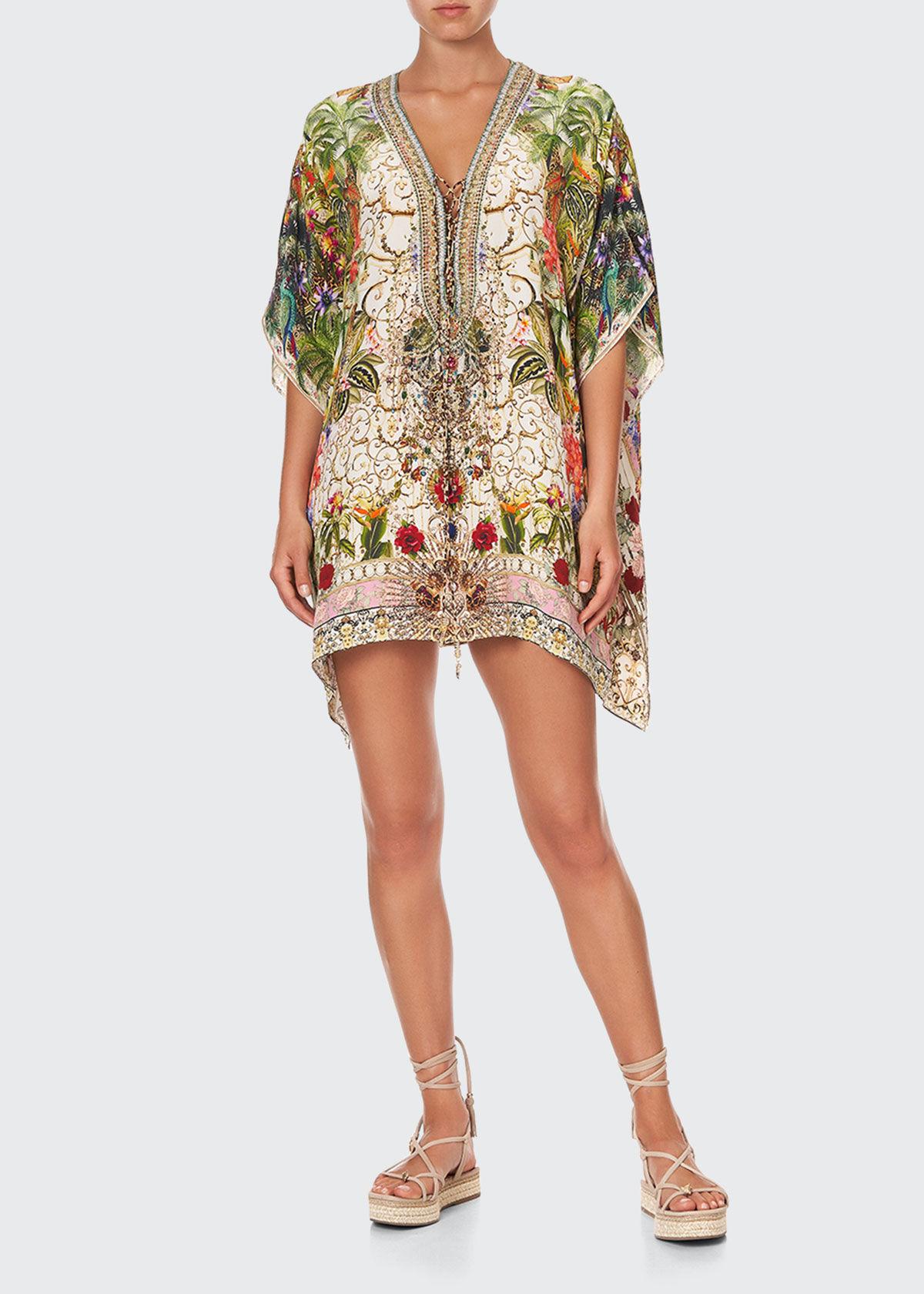 Short Floral Silk Lace-Up Kaftan  - female - FAIR VERONA - Size: One Size