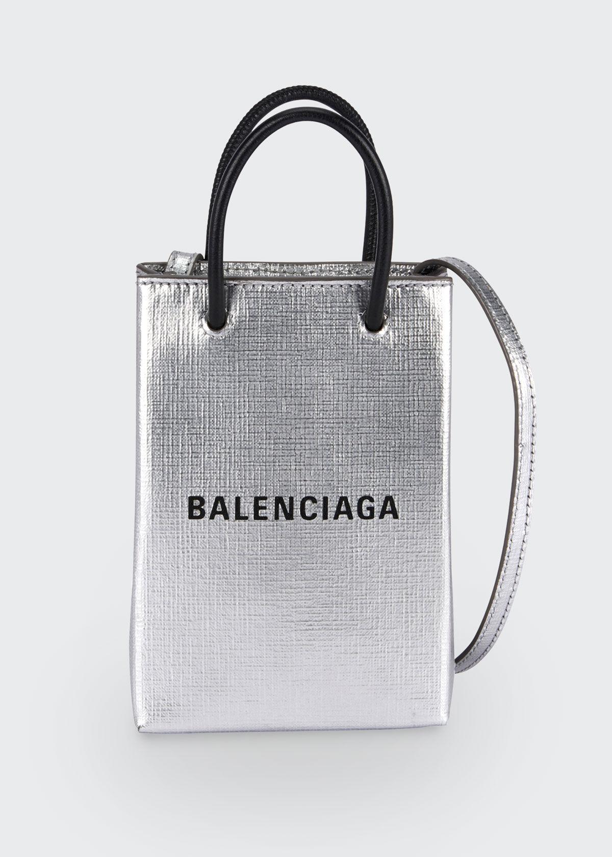Balenciaga Shop Phone Holder Bag  - female - SILVER
