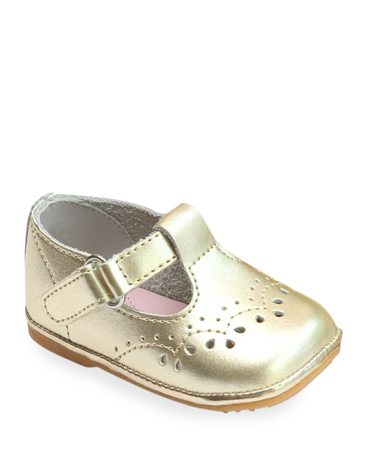 L'Amour Shoes Birdie Metallic Leather T-Strap Brogue Mary Jane, Baby  - female - YELLOW - Size: 3 Baby (6-9M)