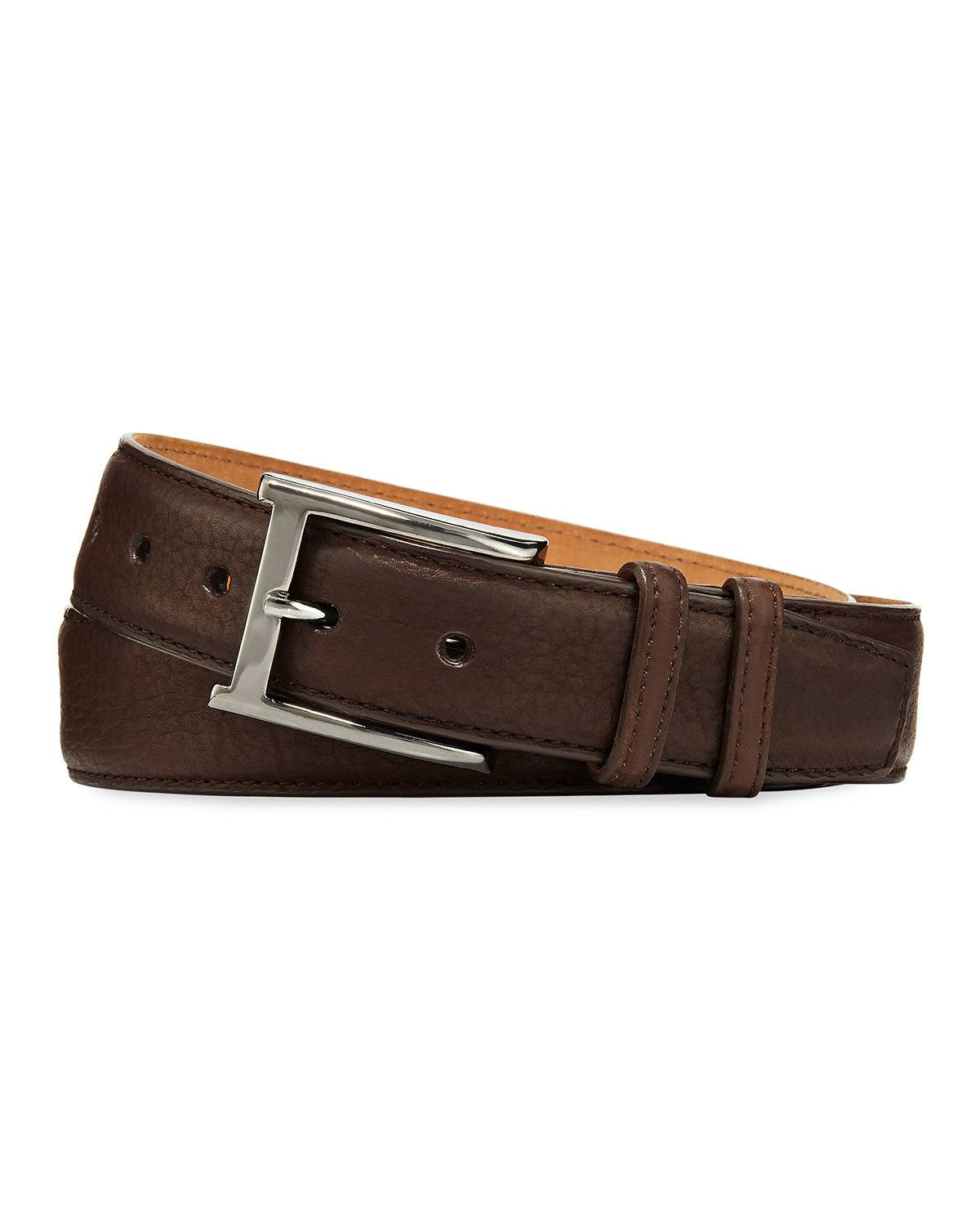 W. Kleinberg Pebbled Bison Leather Belt  - male - CHOCOLATE - Size: 36in / 90cm