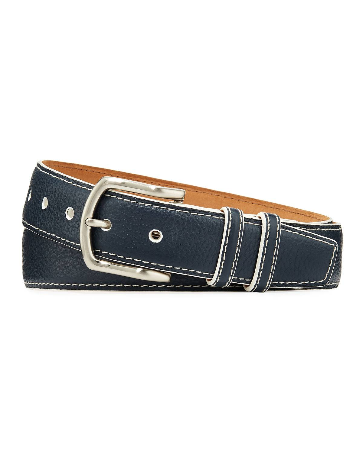 W. Kleinberg Men's South Beach Pebbled Leather Belt  - male - NAVY - Size: 42in / 105cm