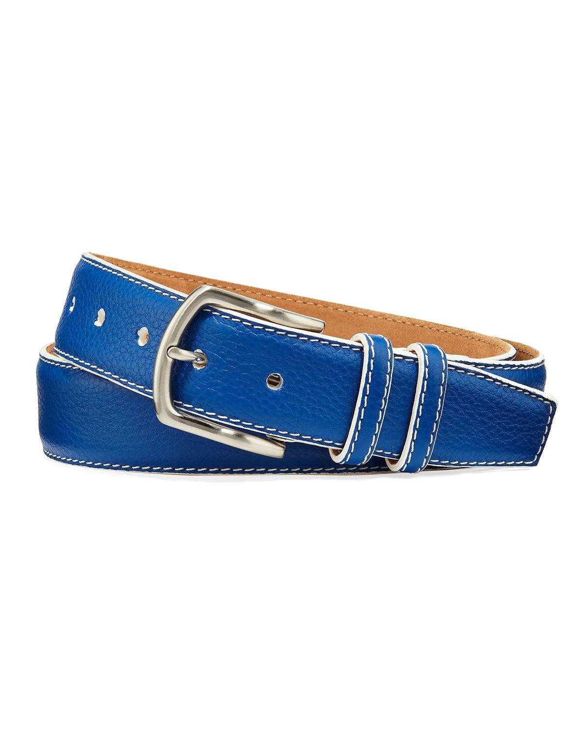 W. Kleinberg Men's South Beach Pebbled Leather Belt  - male - COBALT - Size: 42in / 105cm