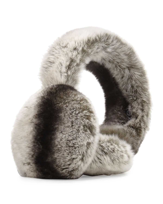 Surell Accessories Rabbit Fur Earmuffs, Chinchilla  - female - GOLDEN BROWN