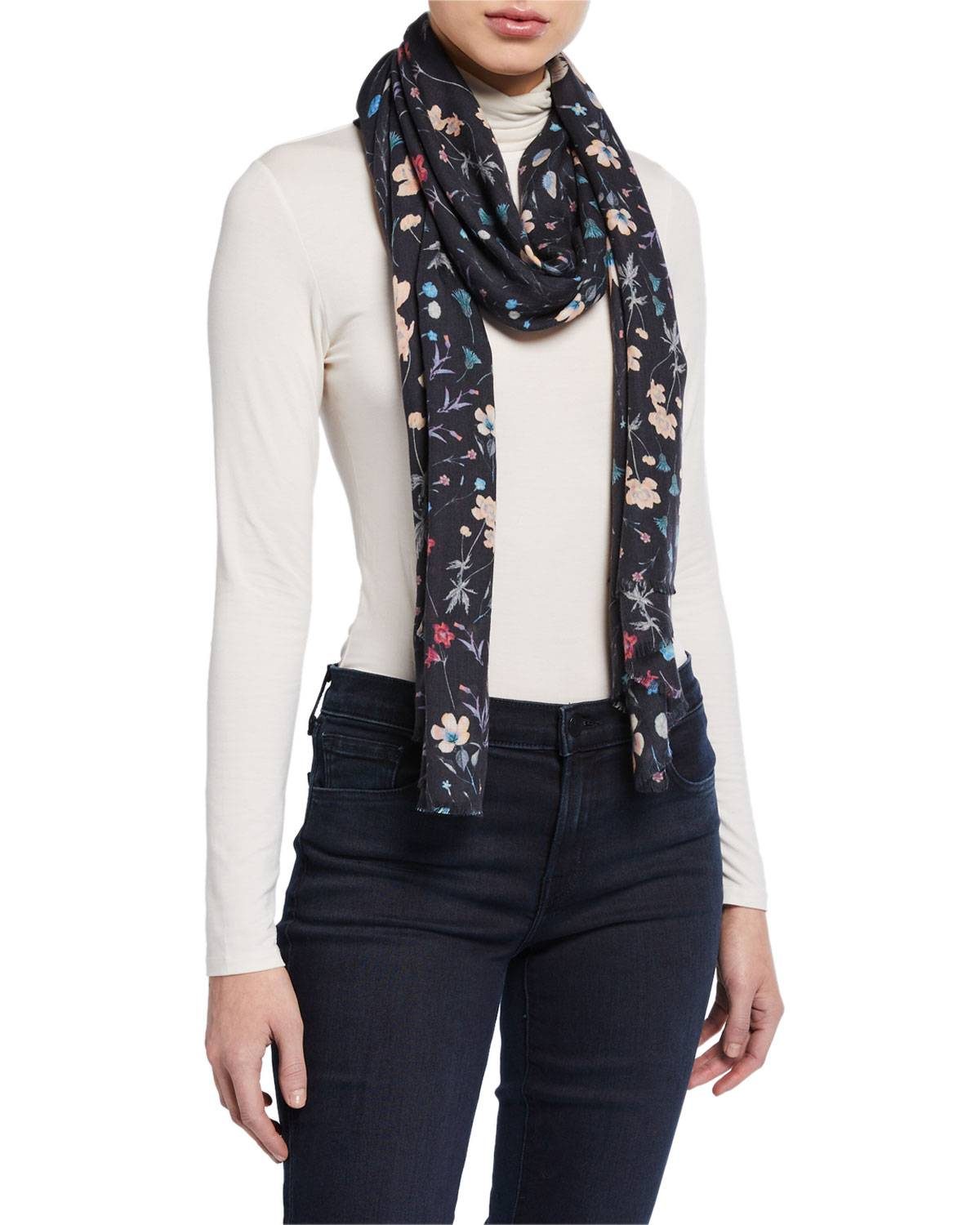 Lily and Lionel Night Garden Modal-Cashmere Scarf  - female - BLACK