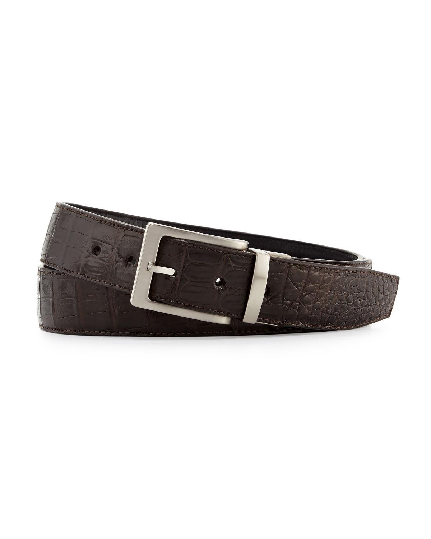 W. Kleinberg Reversible Crocodile & Leather Belt Two-Buckle Box Set  - male - BLACK/BROWN - Size: NO SIZE