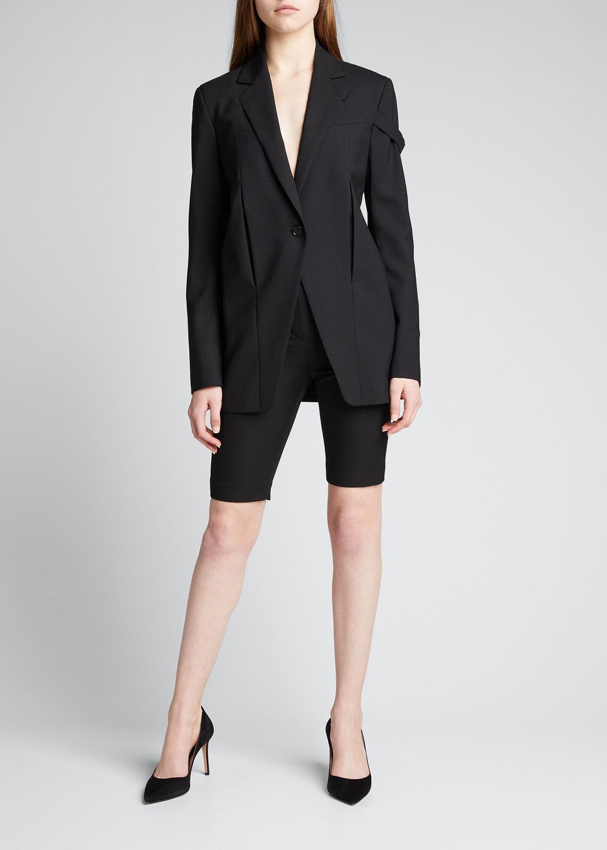 Balmain High-Rise Wool Bike Shorts  - female - BLACK - Size: 42 FR (10 US)