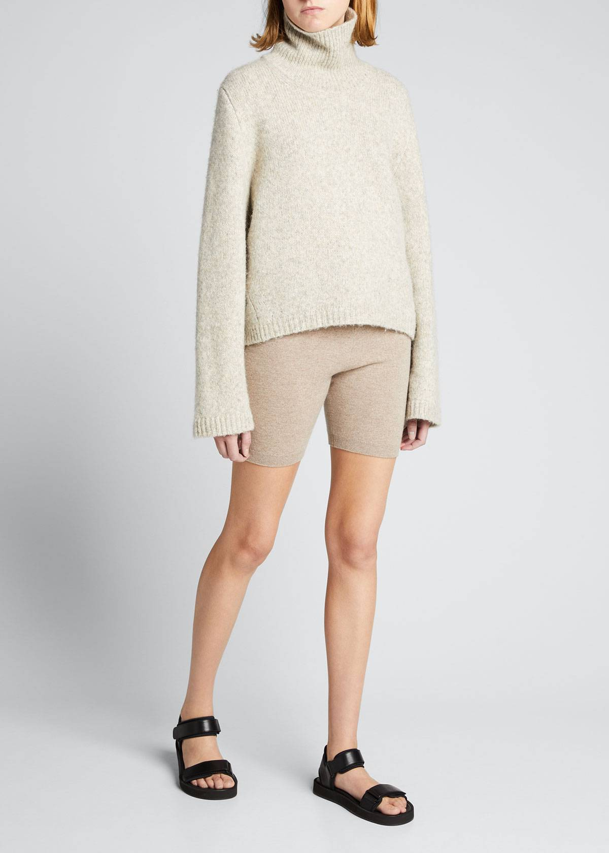 FRAME Cashmere Bike Shorts  - female - MUSHROOM HEATHER - Size: Medium