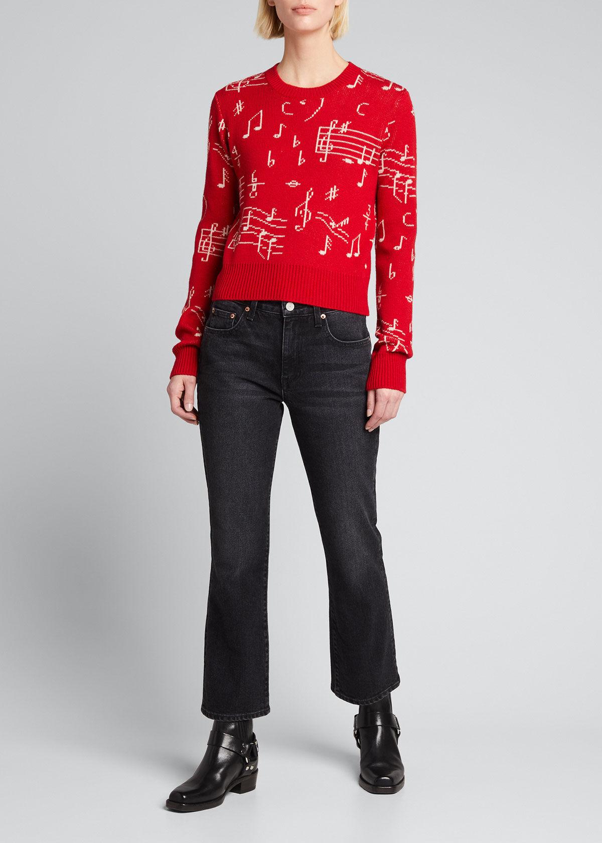 RE/DONE 60s Shrunken Wool Sweater  - female - RED MUSICAL NOTE - Size: Medium