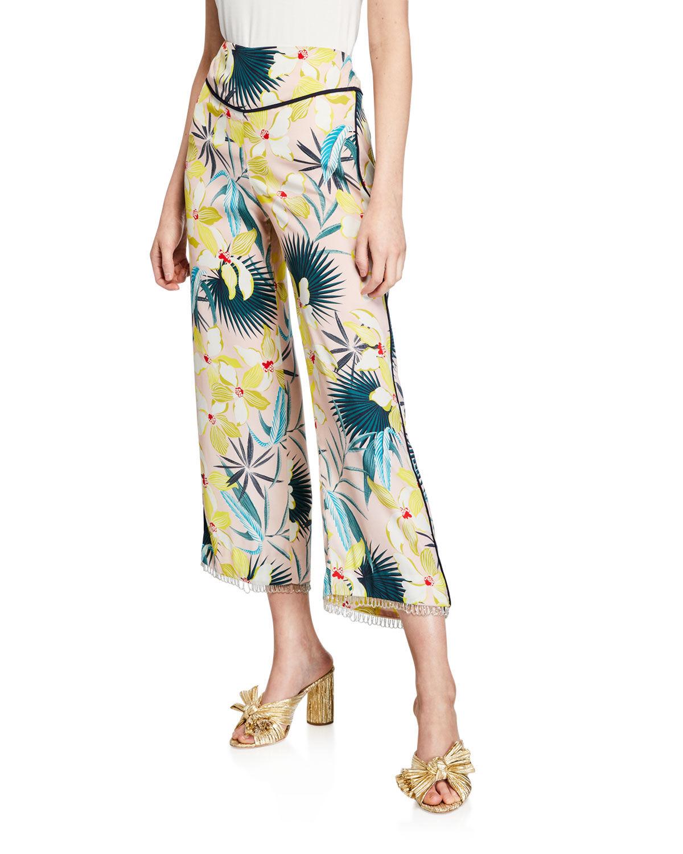 Le Superbe Destination Unknown Floral Wide-Leg Cropped Pants  - female - MULTI PATTERN - Size: 2