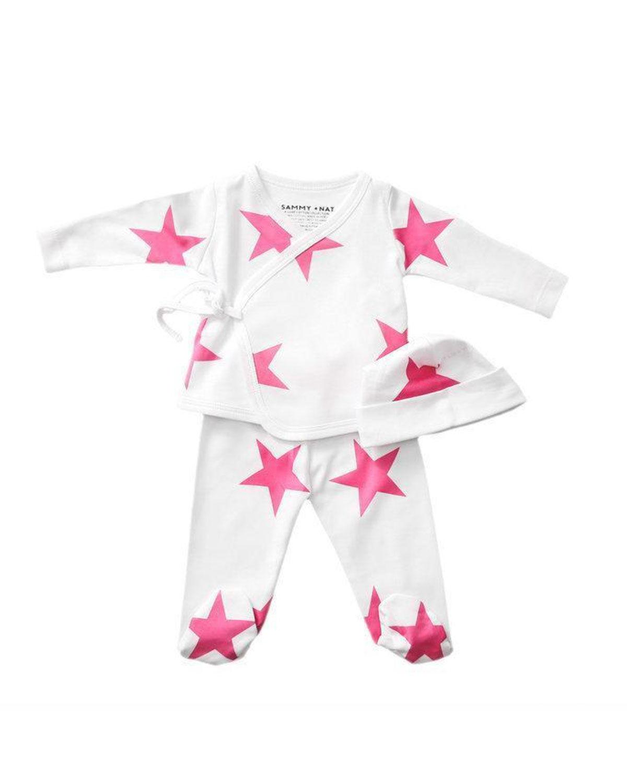 Sammy + Nat Kid's Take Me Home Star-Print 3-Piece Kimono Set, Size 3-18M  - unisex - PINK - Size: Newborn