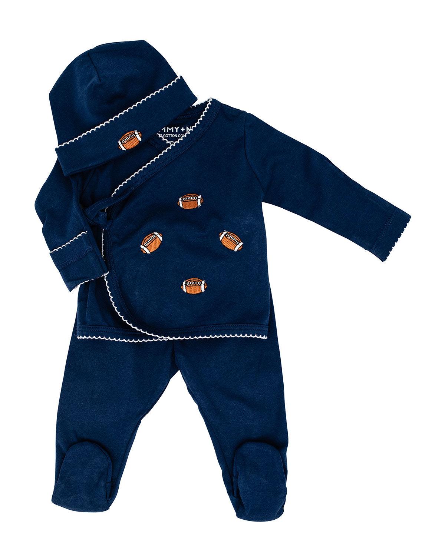 Sammy + Nat Kid's Take Me Home 3-Piece Football-Print Kimono Set, Size 3-18M  - unisex - NAVY - Size: Newborn