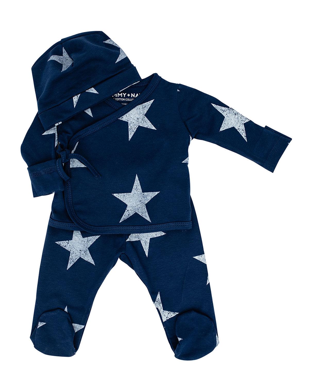 Sammy + Nat Kid's Take Me Home Star-Print 3-Piece Kimono Set, Size 3-18M  - unisex - NAVY - Size: Newborn