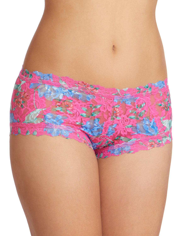Hanky Panky Electric Garden Printed Lace Boyshorts  - female - MULTI - Size: Medium