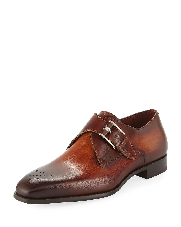 Magnanni for Neiman Marcus Men's Single-Monk Leather Shoes  - male - BROWN - Size: 11D