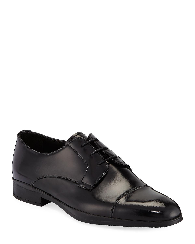 Prada Men's Spazzolato Leather Lace-Up Dress Shoes  - male - BLACK - Size: 11 UK (12D US)