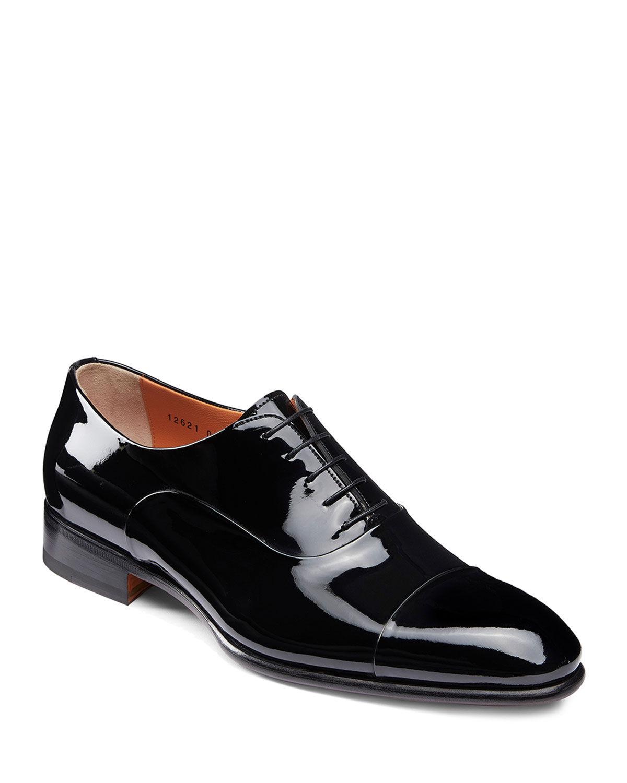 Santoni Men's Isaac Patent Leather Lace-Up Shoes  - male - BLACK - Size: 13D