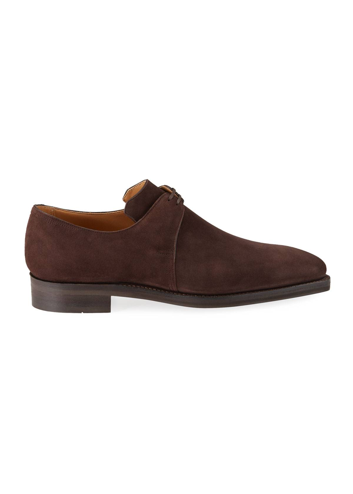 Corthay Men's Arca Suede Derby Shoes  - male - BROWN - Size: 8D