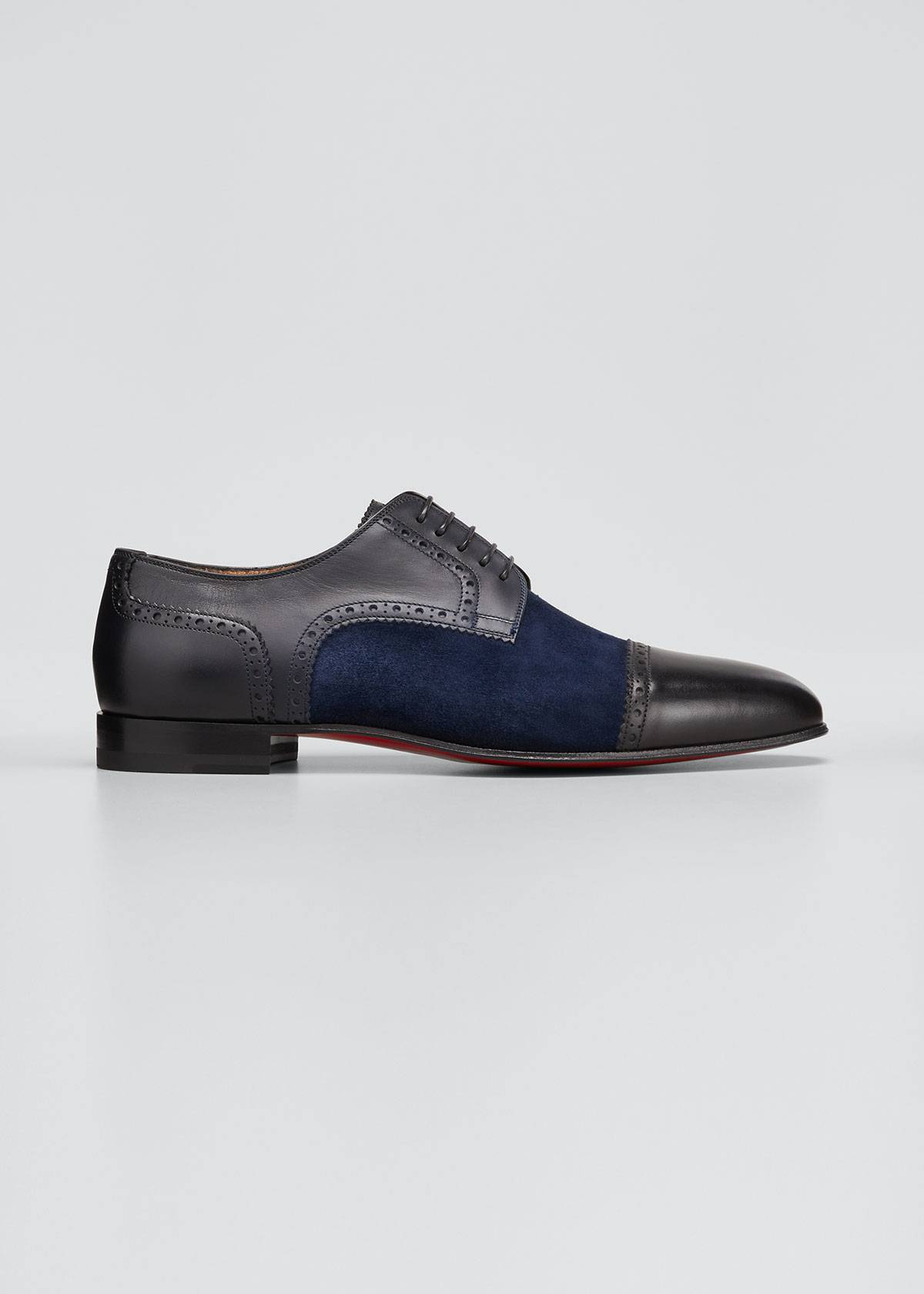 Christian Louboutin Men's Eygeny Brogue Leather/Suede Derby Shoes  - male - MULTI - Size: 43.5 EU(10.5D US)