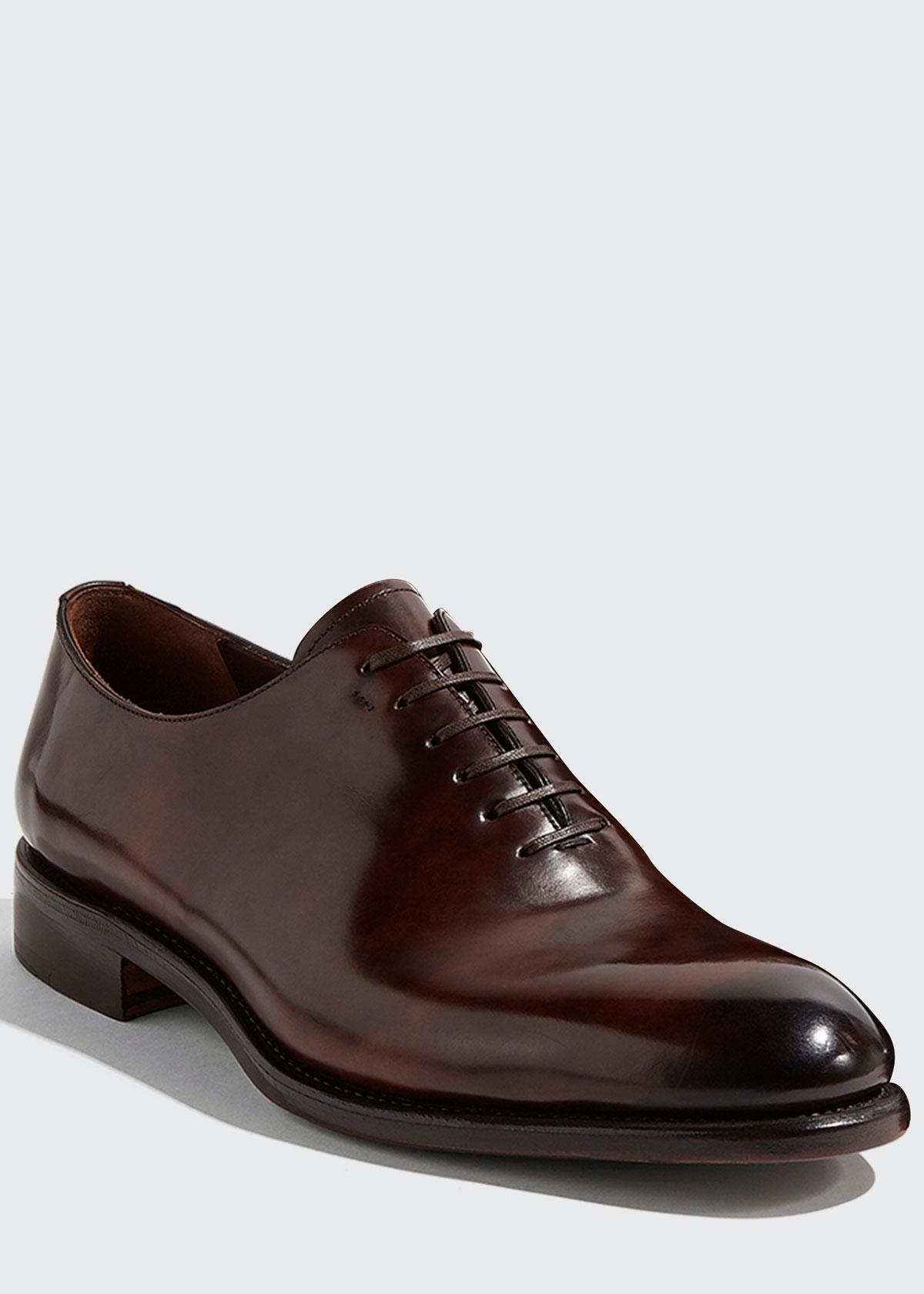 Salvatore Ferragamo Men's Angiolo Tramezza Whole-Cut Leather Lace-Up Shoes  - AFRICA - Size: 8.5