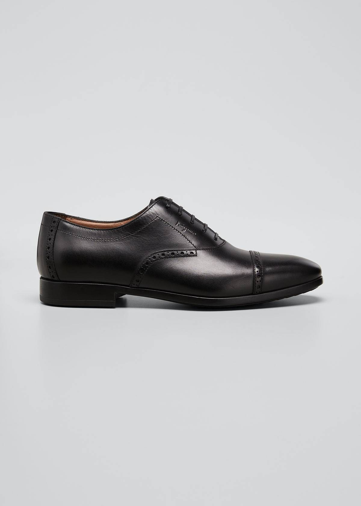 Salvatore Ferragamo Men's Saddle Leather Oxford Shoes  - NERO - Size: 12