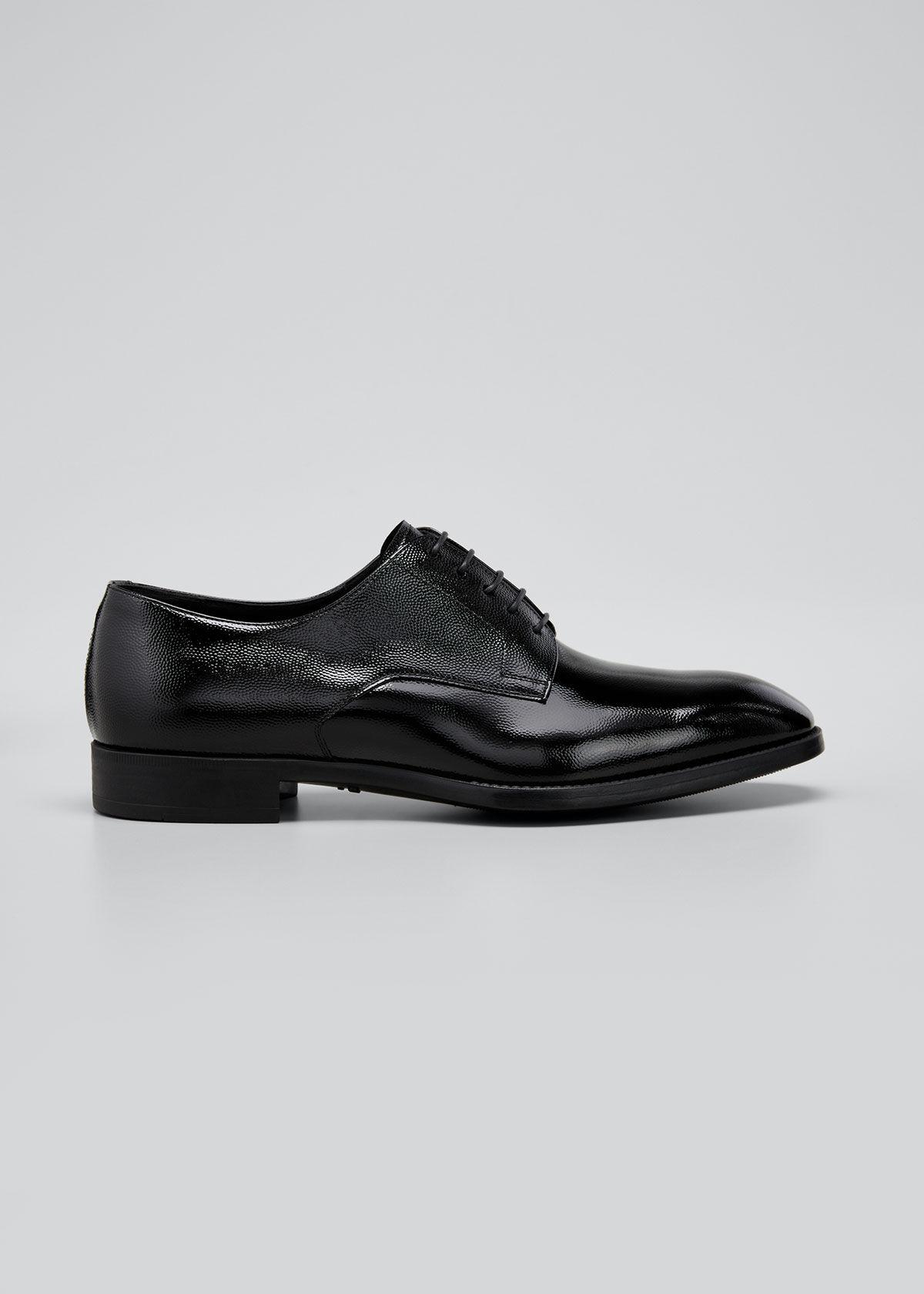 Giorgio Armani Men's Pebbled Leather Lace-Up Shoes  - male - BLACK - Size: 8 UK (9D US)