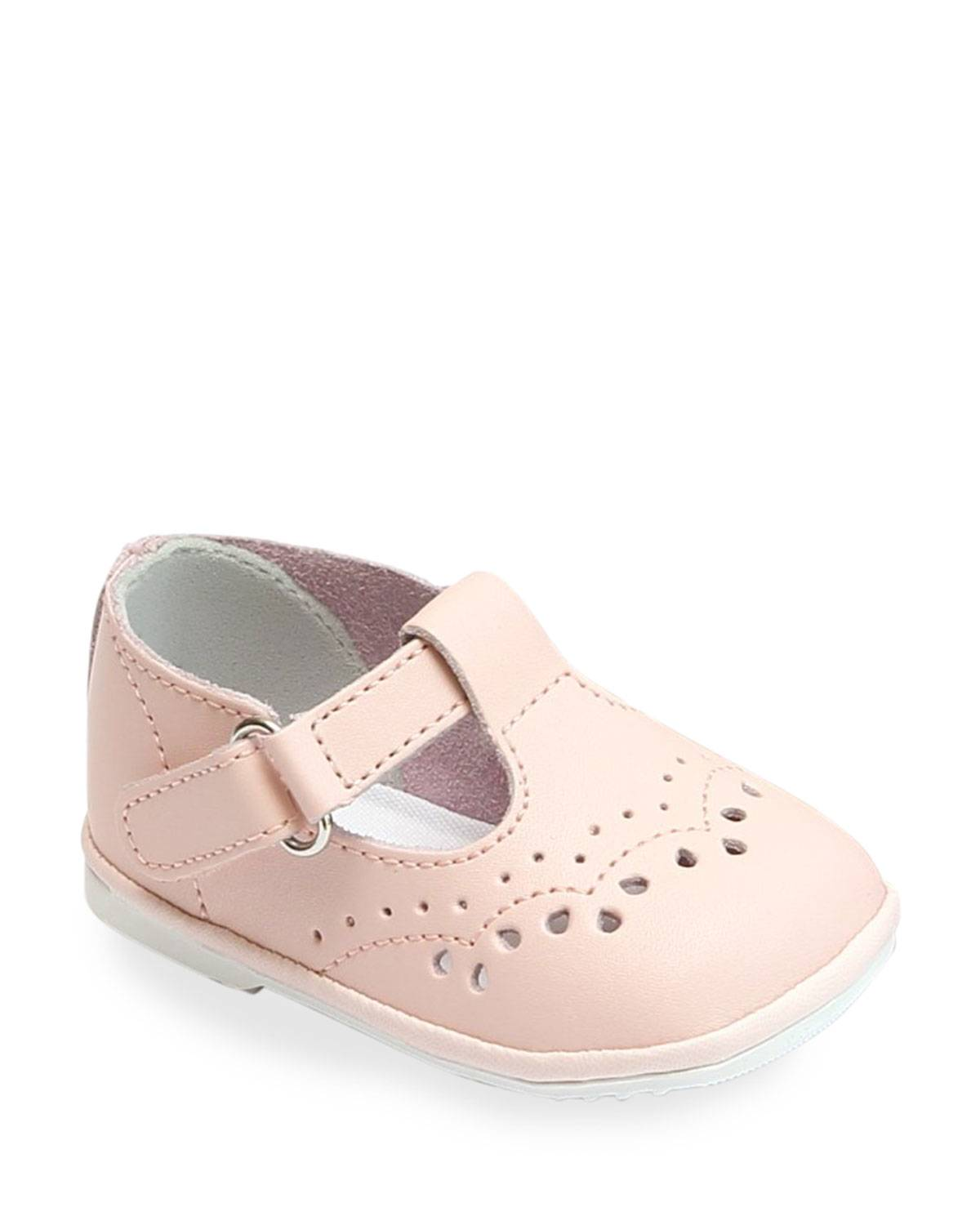 L'Amour Shoes Birdie Leather T-Strap Brogue Mary Jane, Baby  - female - PINK - Size: 7 Baby