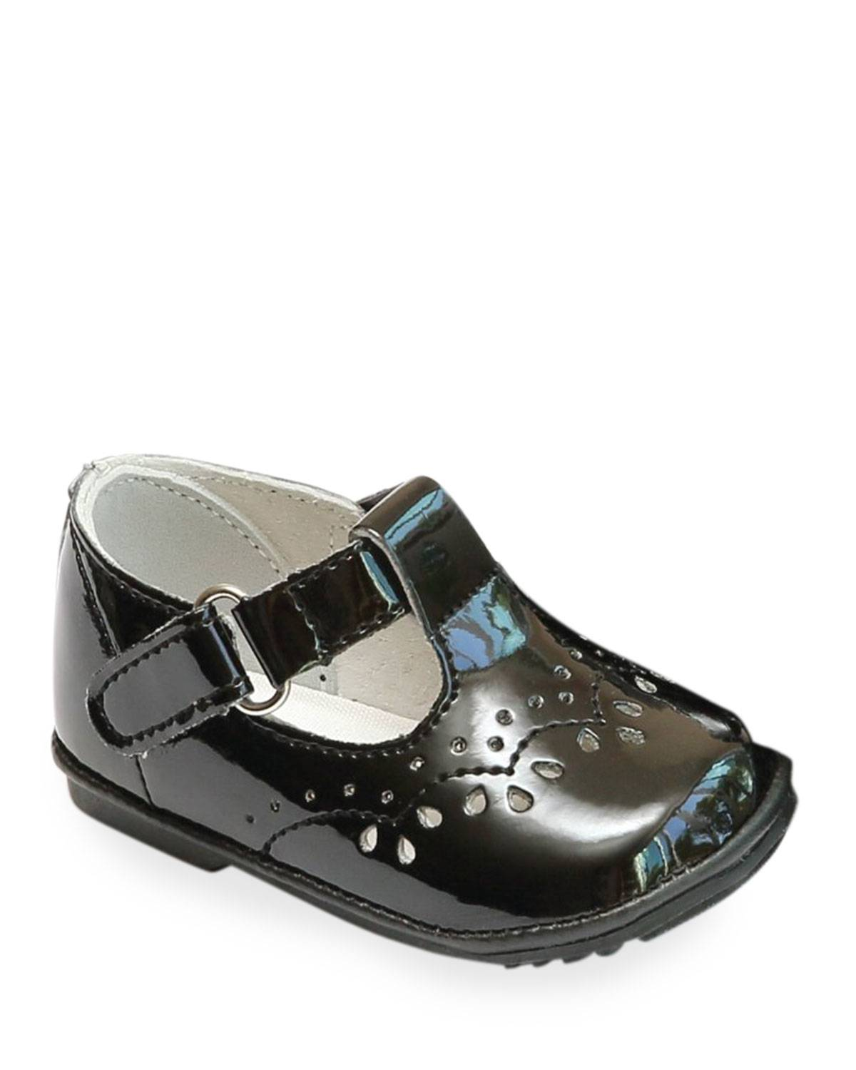 L'Amour Shoes Birdie Patent Leather T-Strap Brogue Mary Jane, Baby  - female - BLACK - Size: 7 Baby