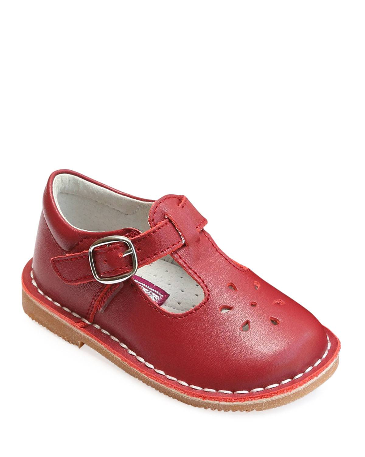 L'Amour Shoes Joy Leather Cutout T-Strap Mary Jane, Baby/Toddler/Kids  - female - RED - Size: 13 Kid