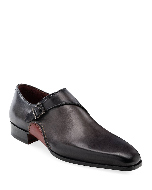 Magnanni Men's Carrera Single-Monk Leather Shoes  - GREY - Size: 8D