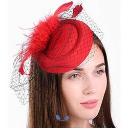 Lady Womens Fashion Style Feather Pattern Handmade Cloth Birdcage Veil Hair Accessories