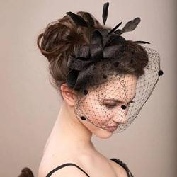 Wedding Party Romantic Style Womens Handmade Feather Bowknot Birdcage Veil Hair Accessories