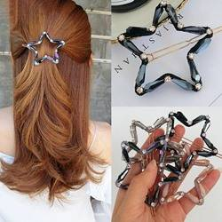 Womens Korean Style Star Pattern Crystal Material Hair Claw Hair Accessories for Gift
