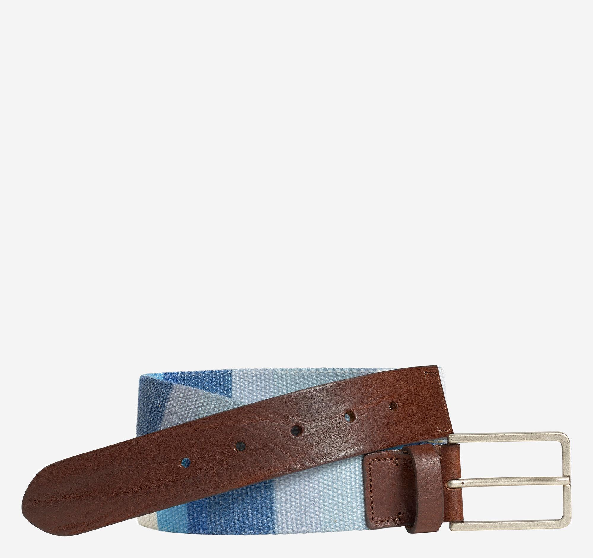 Johnston & Murphy Men's Multi-Color Cloth Belt - Blue Multi Cloth - Size 32