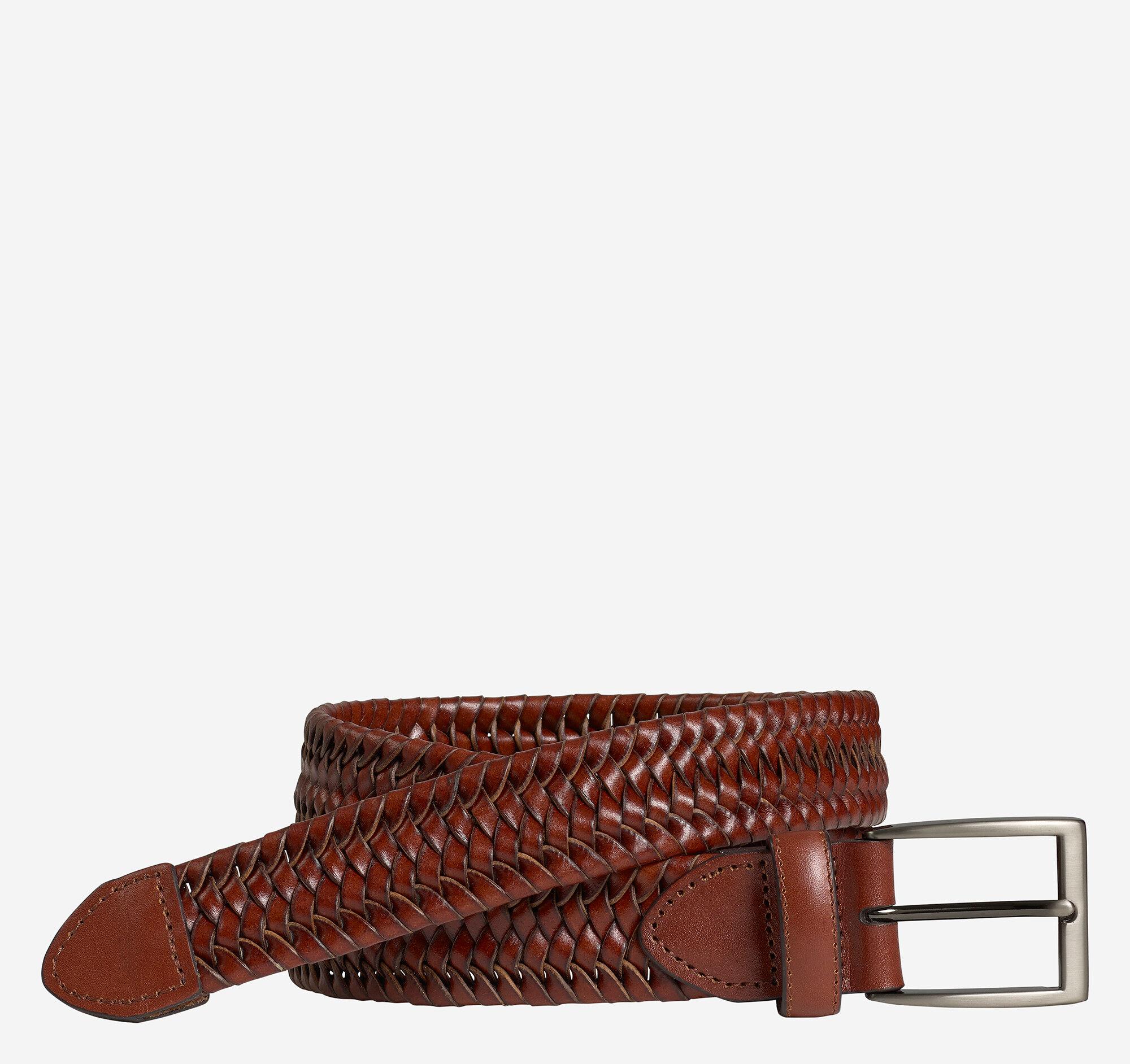 Johnston & Murphy Men's Stretch Leather Braided Belt - Cognac - Size 40