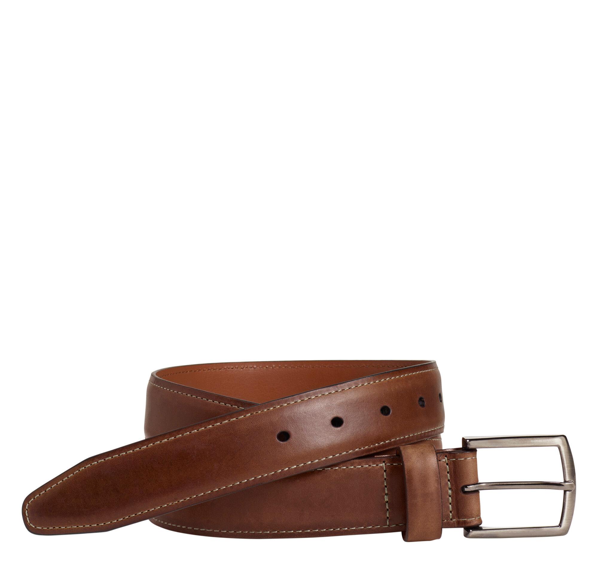 Johnston & Murphy Men's Oiled-Leather Belt - Brown - Size 42