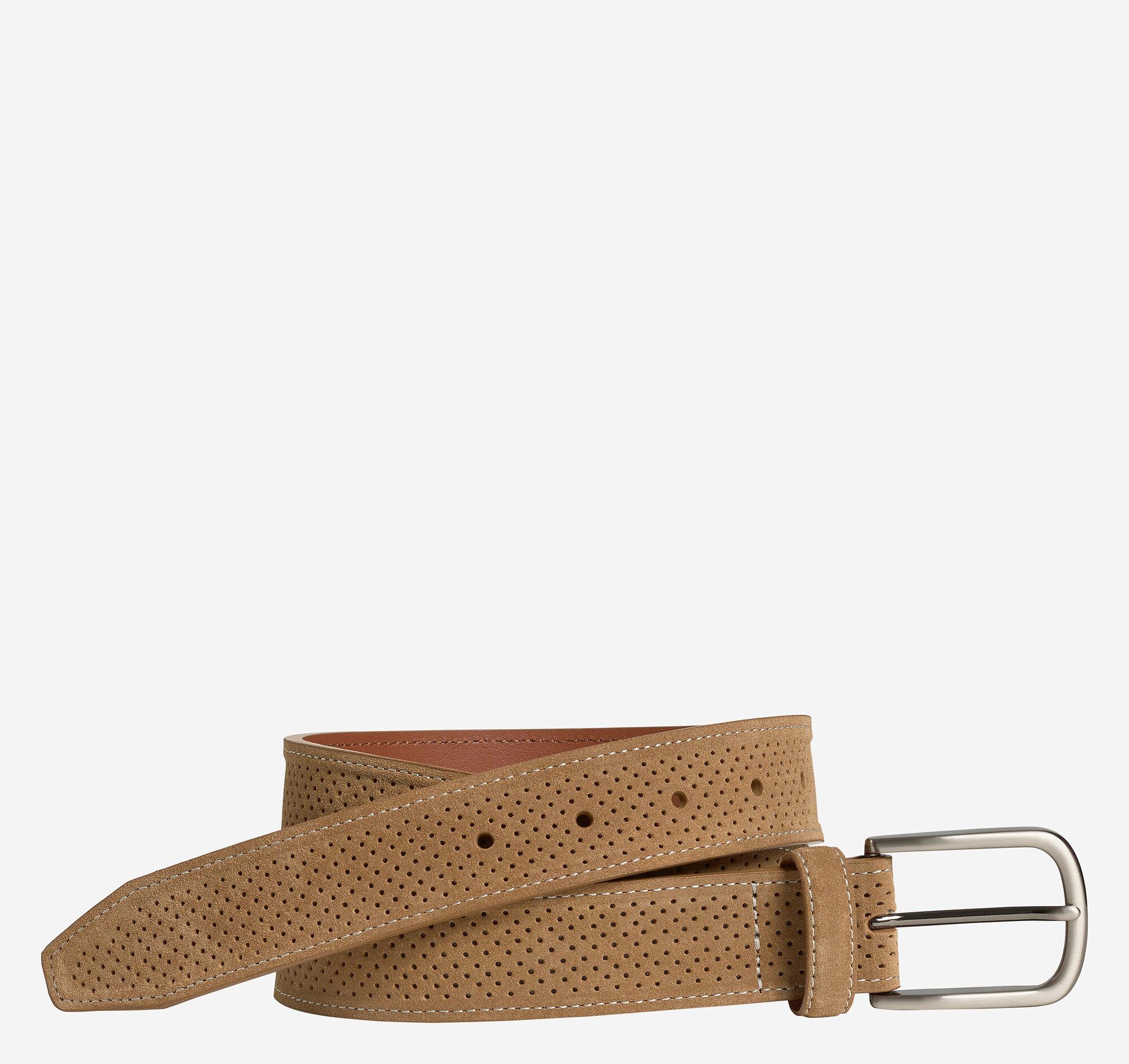 Johnston & Murphy Men's Suede Perf Belt - Tan Suede Leather - Size 44