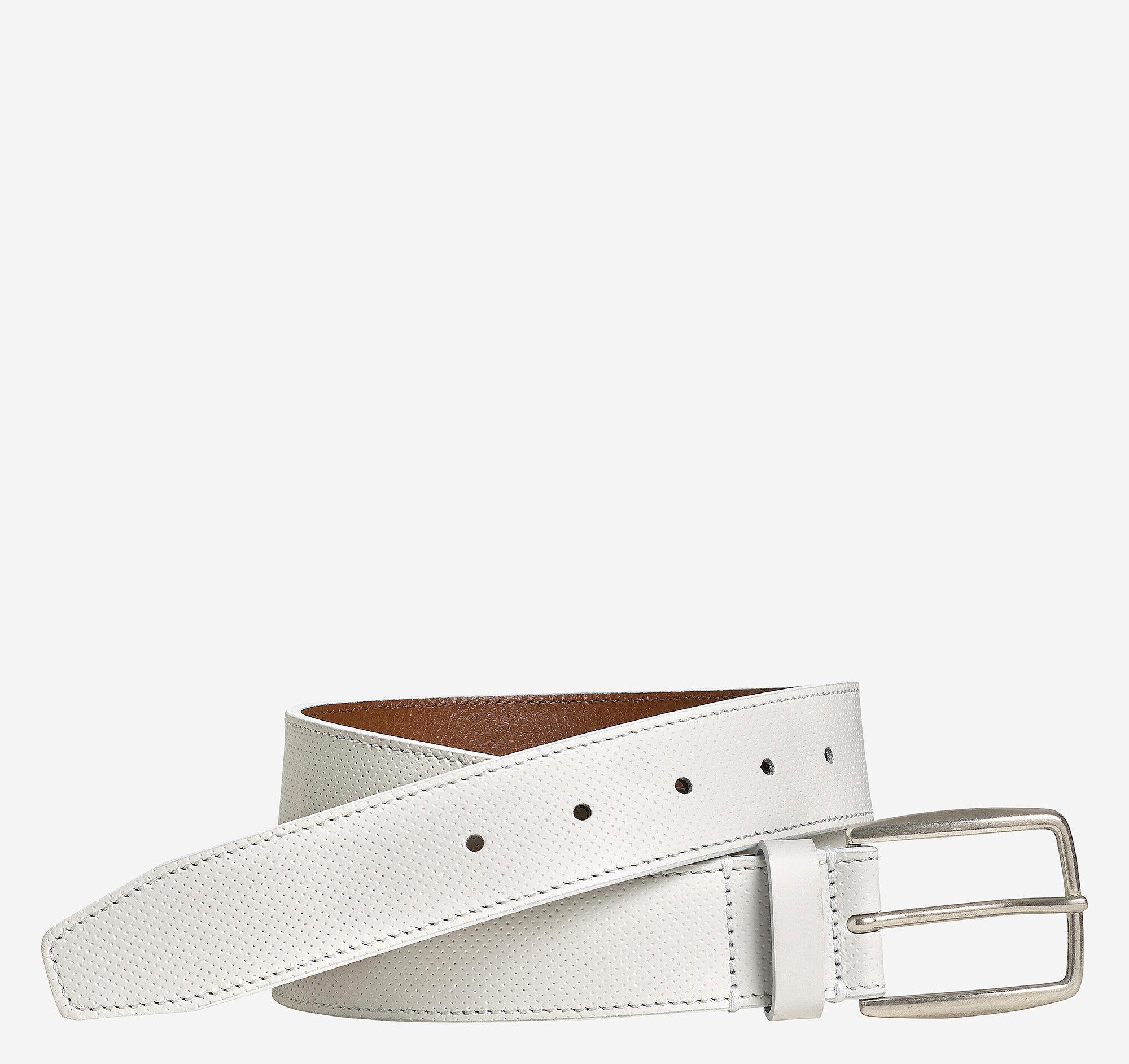 Johnston & Murphy Men's Mini-Perfed Belt - White Full Grain Leather - Size 32