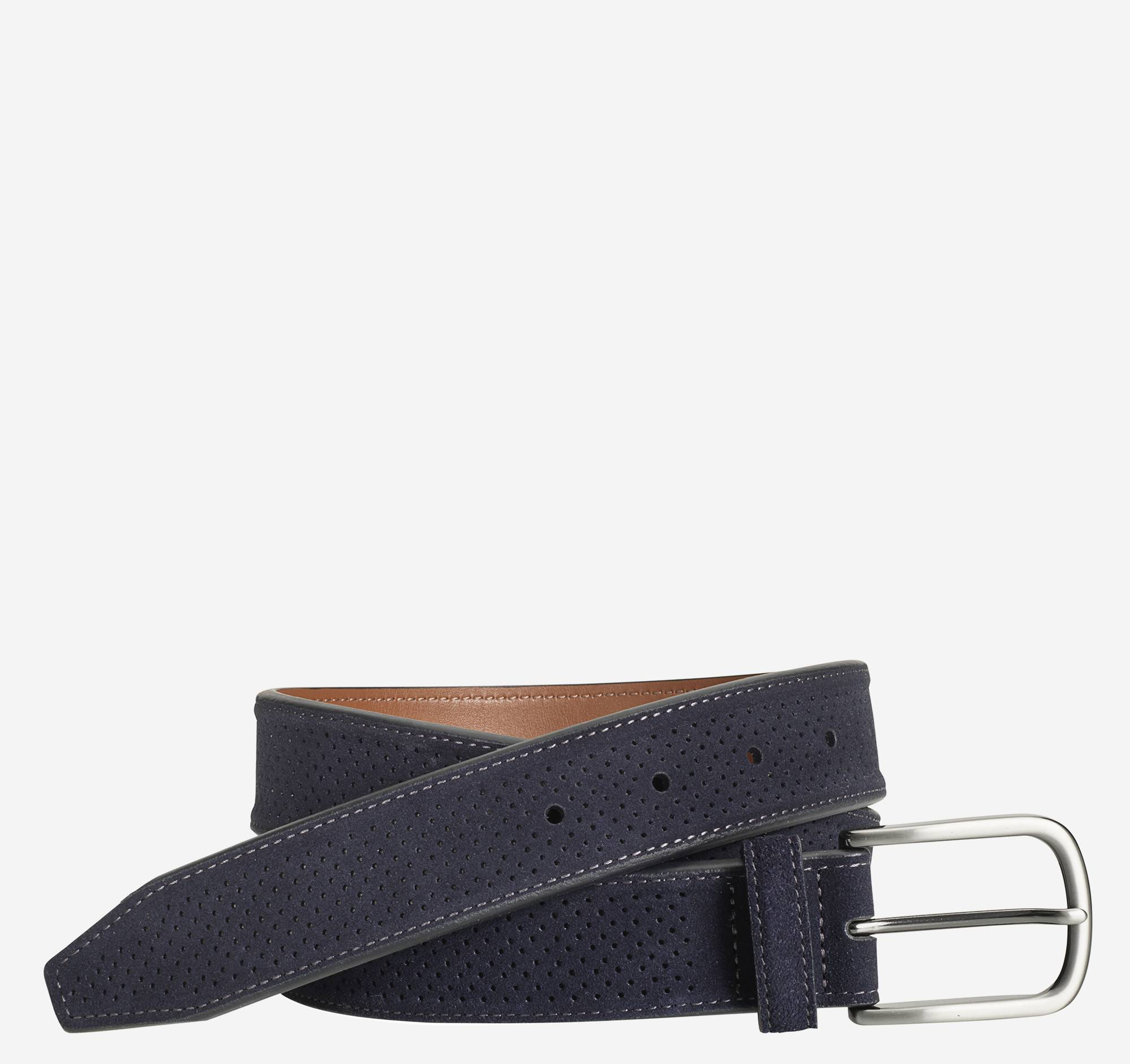 Johnston & Murphy Men's Perfed Suede Belt - Navy - Size 34