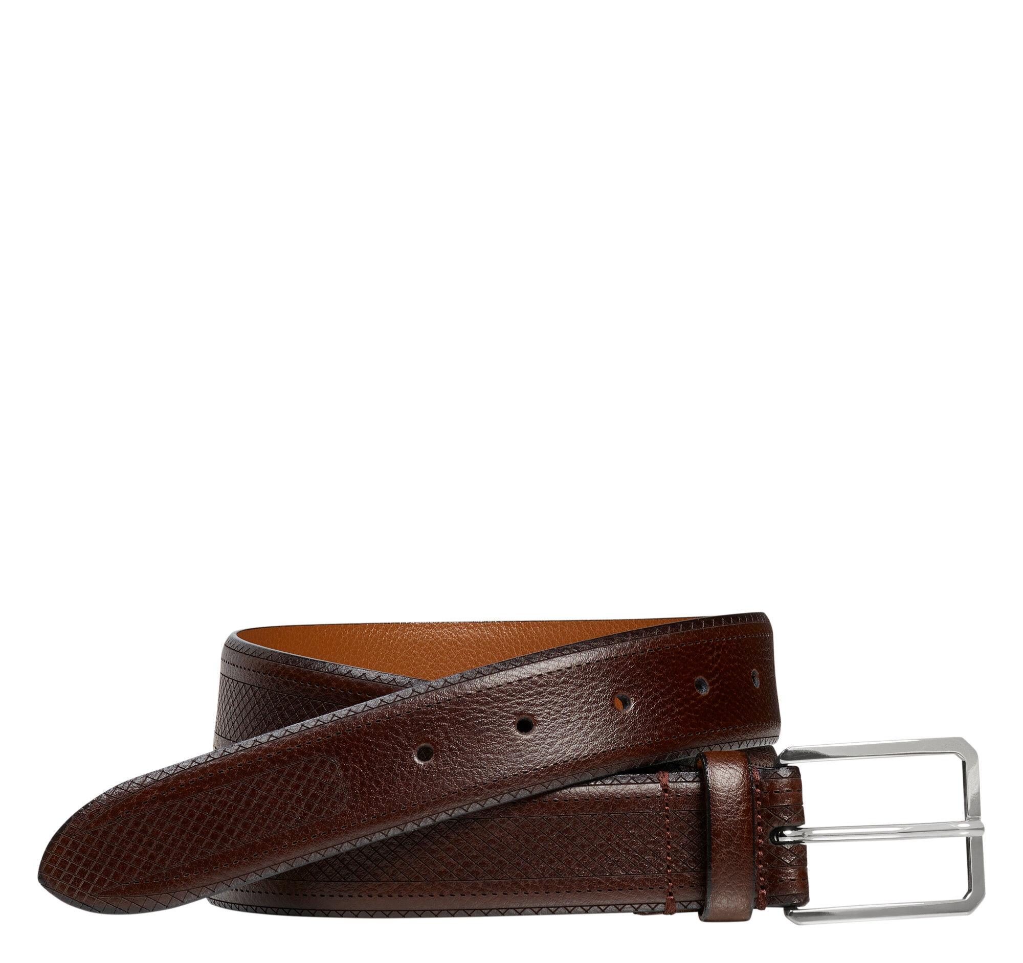 Johnston & Murphy Men's Basketweave Embossed Belt - Brown - Size 38