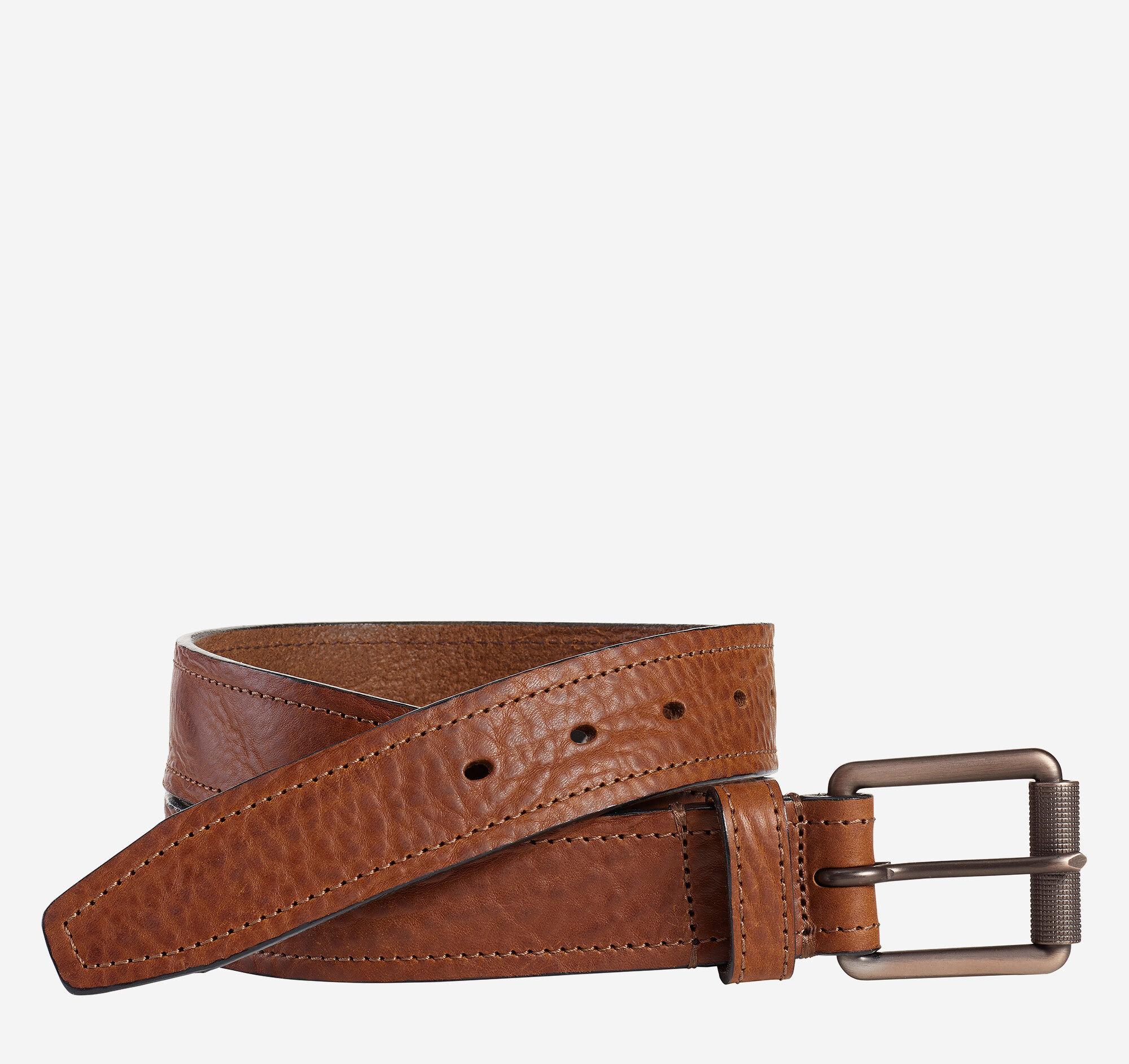 Johnston & Murphy Men's Washed Leather Belt - Tan - Size 42