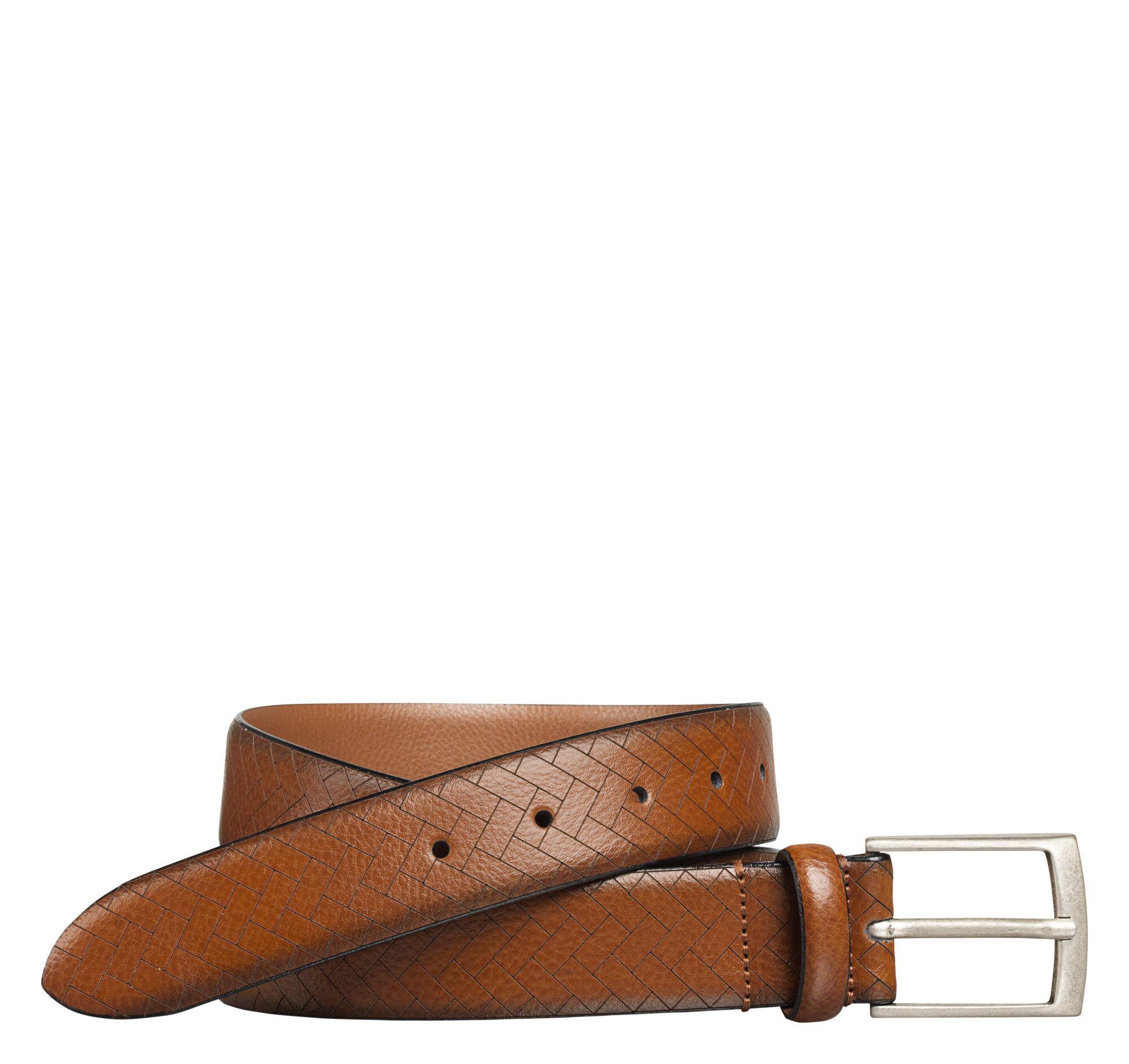 Johnston & Murphy Men's Chevron-Engraved Belt - Brown - Size 36