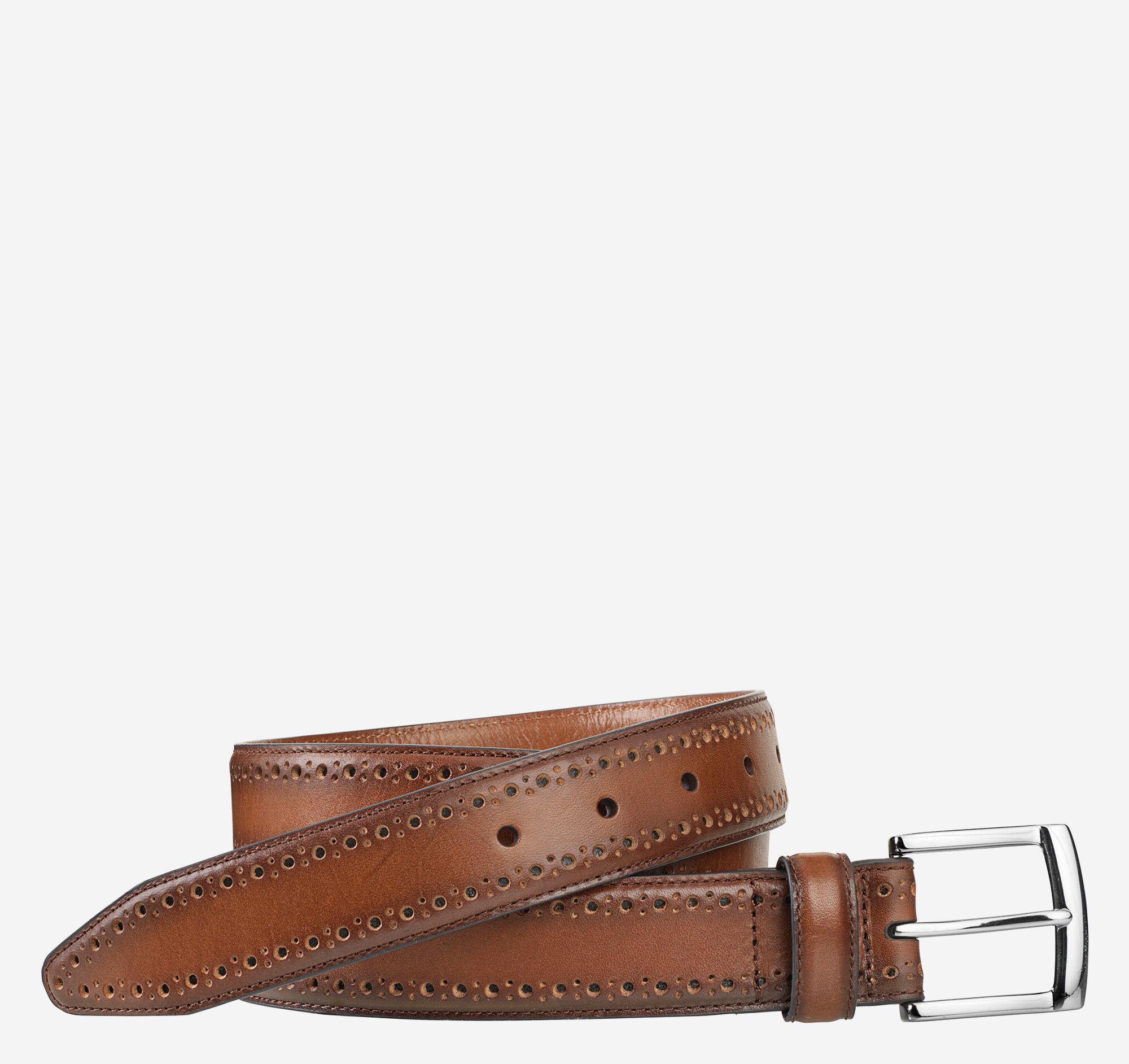Johnston & Murphy Men's Perfed-Edge Belt - Tan - Size 32