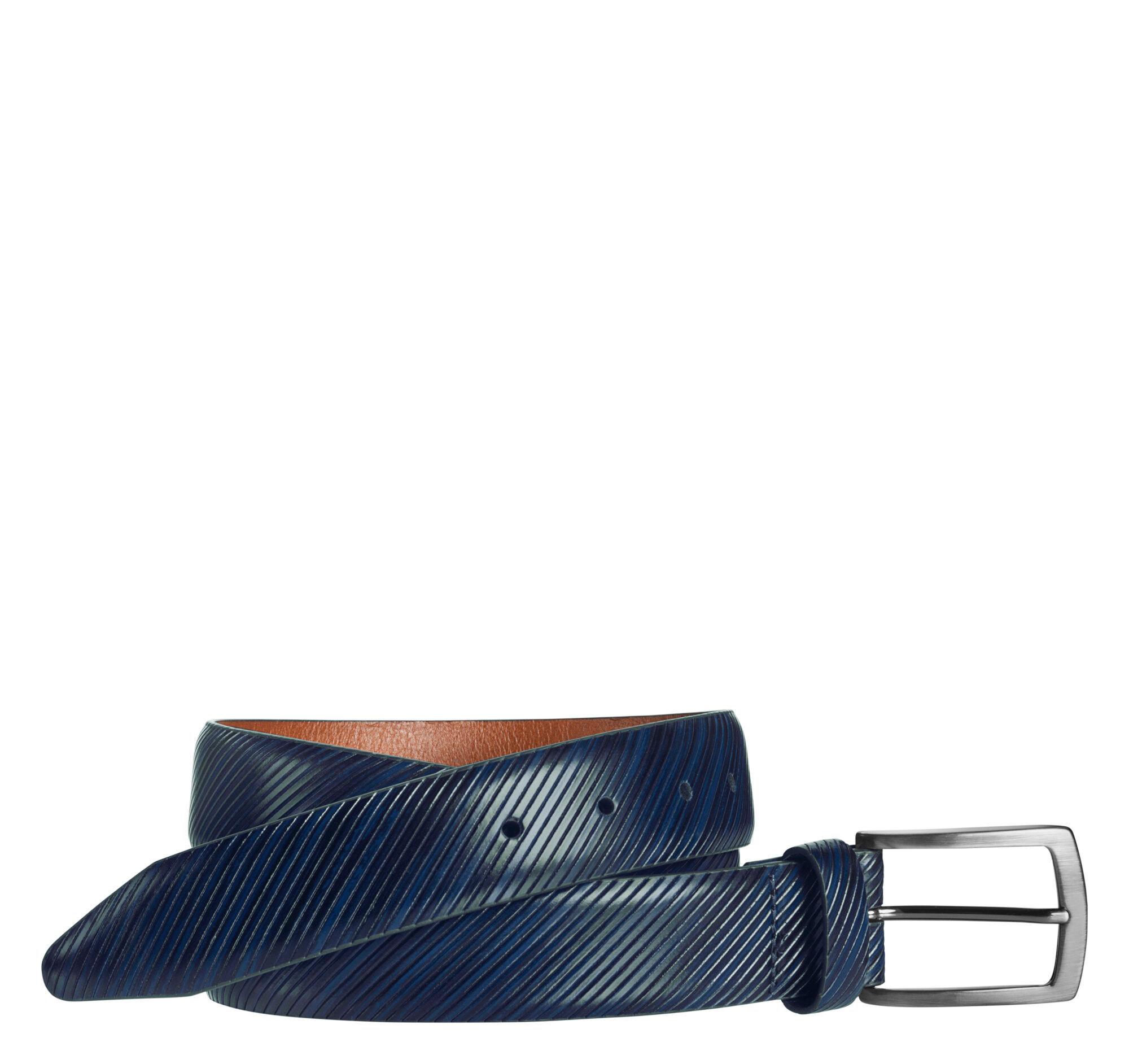 Johnston & Murphy Men's Diagonal-Etched Belt - Navy - Size 42