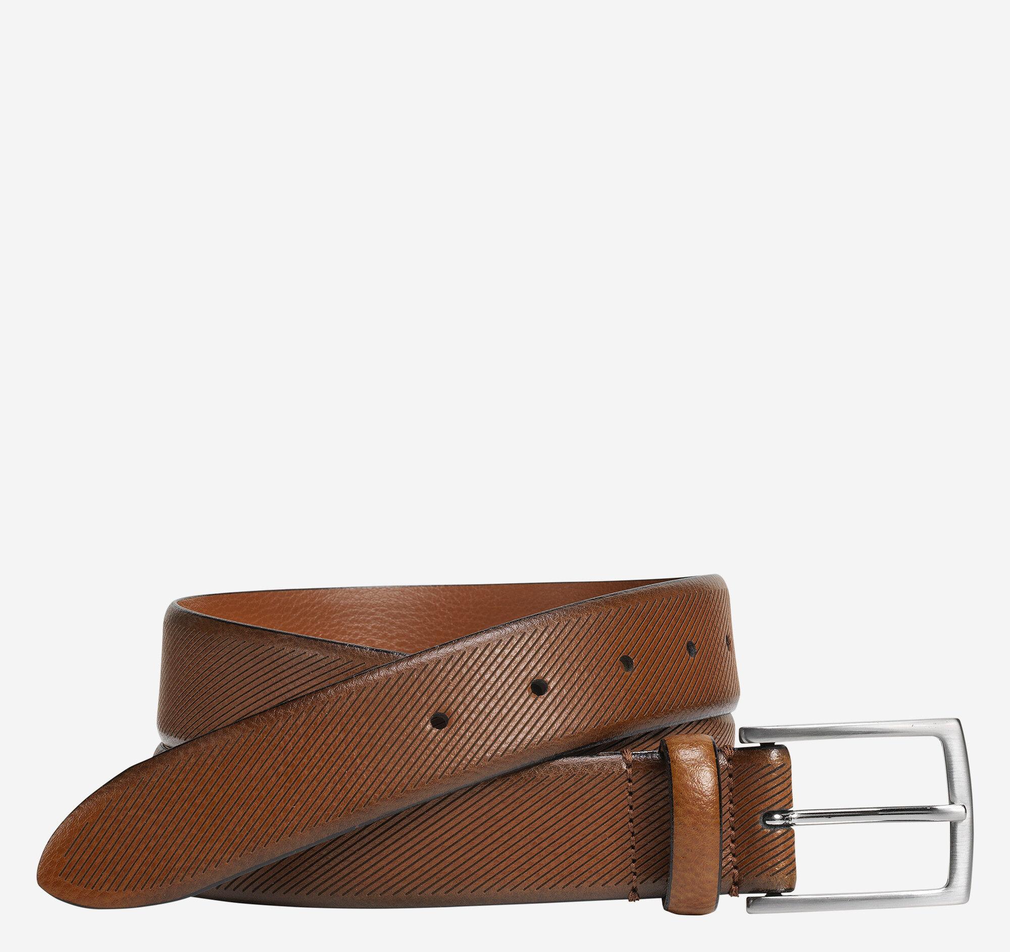 Johnston & Murphy Men's Diagonal Embossed Belt - Tan - Size 32