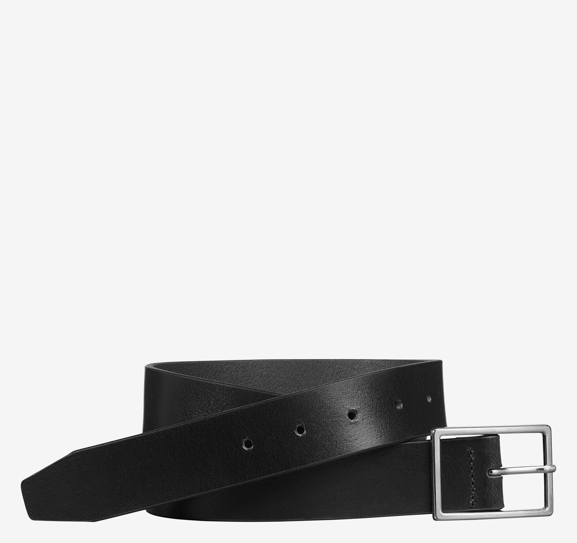 Johnston & Murphy Men's Polished-Nickel Buckle Belt - Black - Size 32