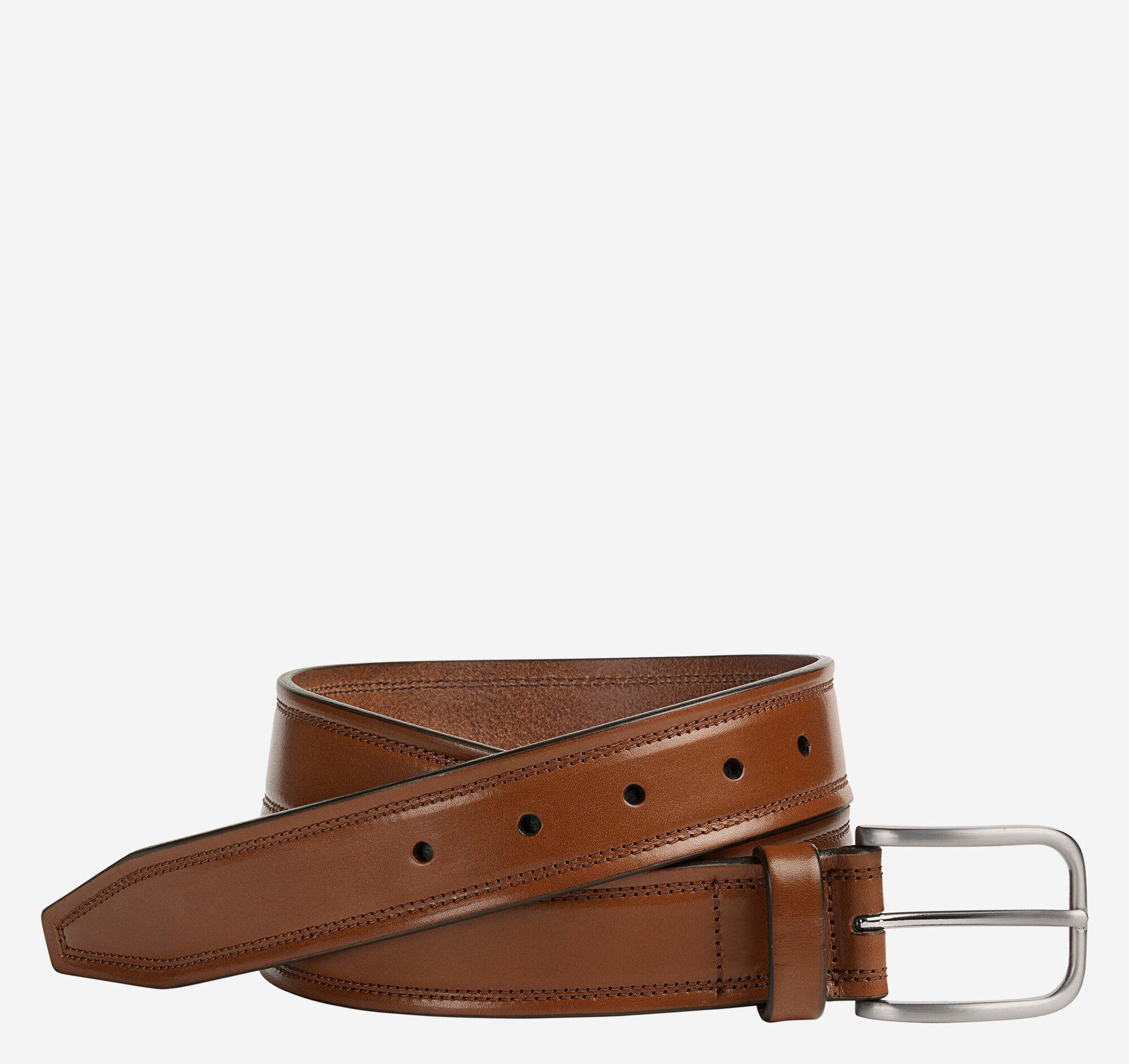 Johnston & Murphy Men's Double Self-Stitch Belt - Brown - Size 32