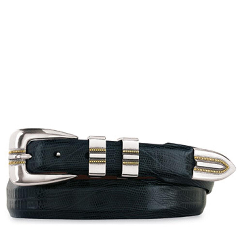 Johnston & Murphy Men's Lizard-Grain Ranger Belt - Navy - Size 44