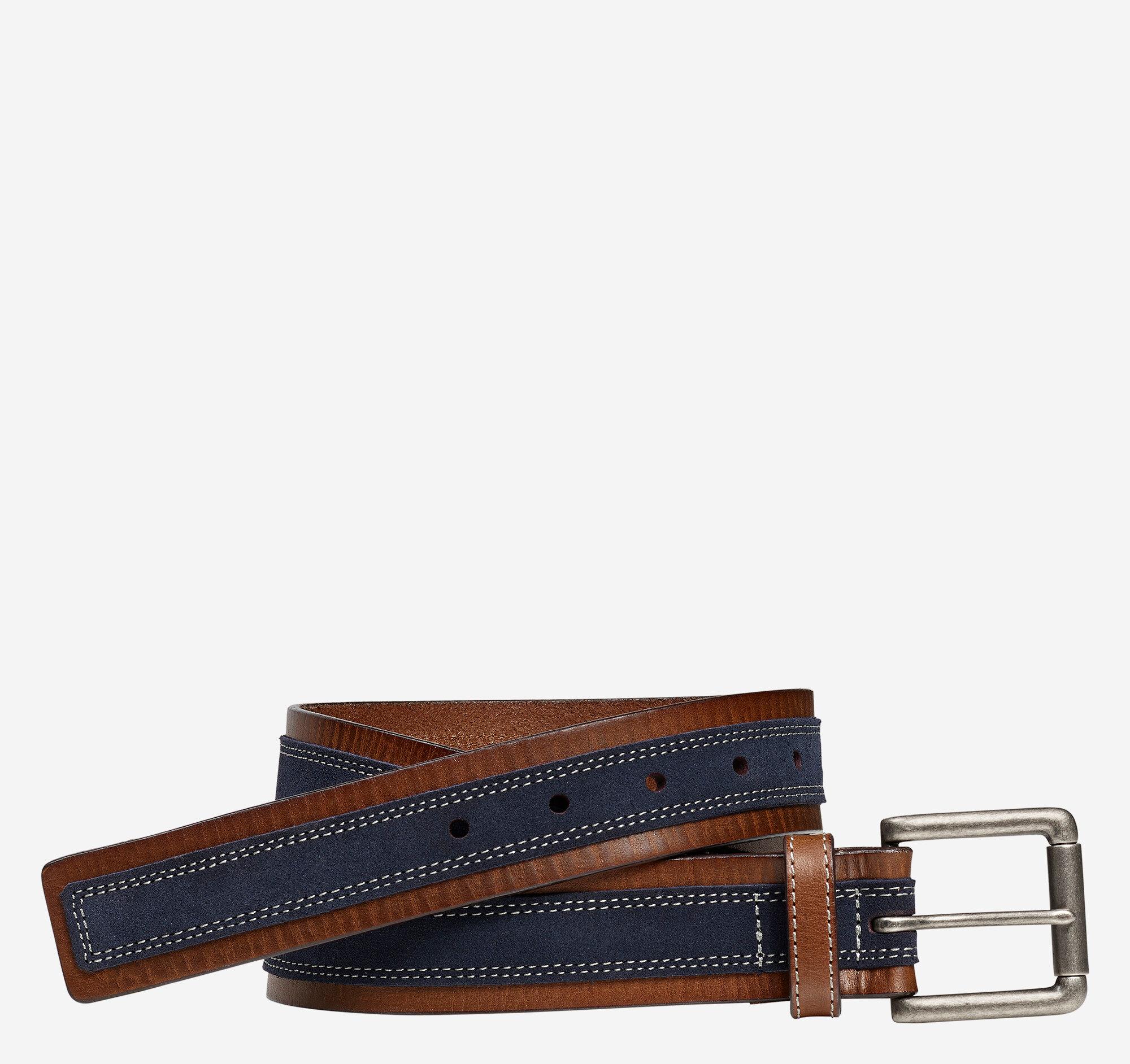 Johnston & Murphy Men's Suede Overlay Belt - Brown/Navy - Size 34